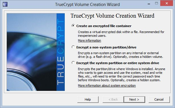 For å få et digitalt «pengeskap» velger du å opprette en kryptert filbeholder.