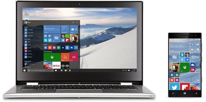 Windows 10 på PC og mobil. Foto: Microsoft