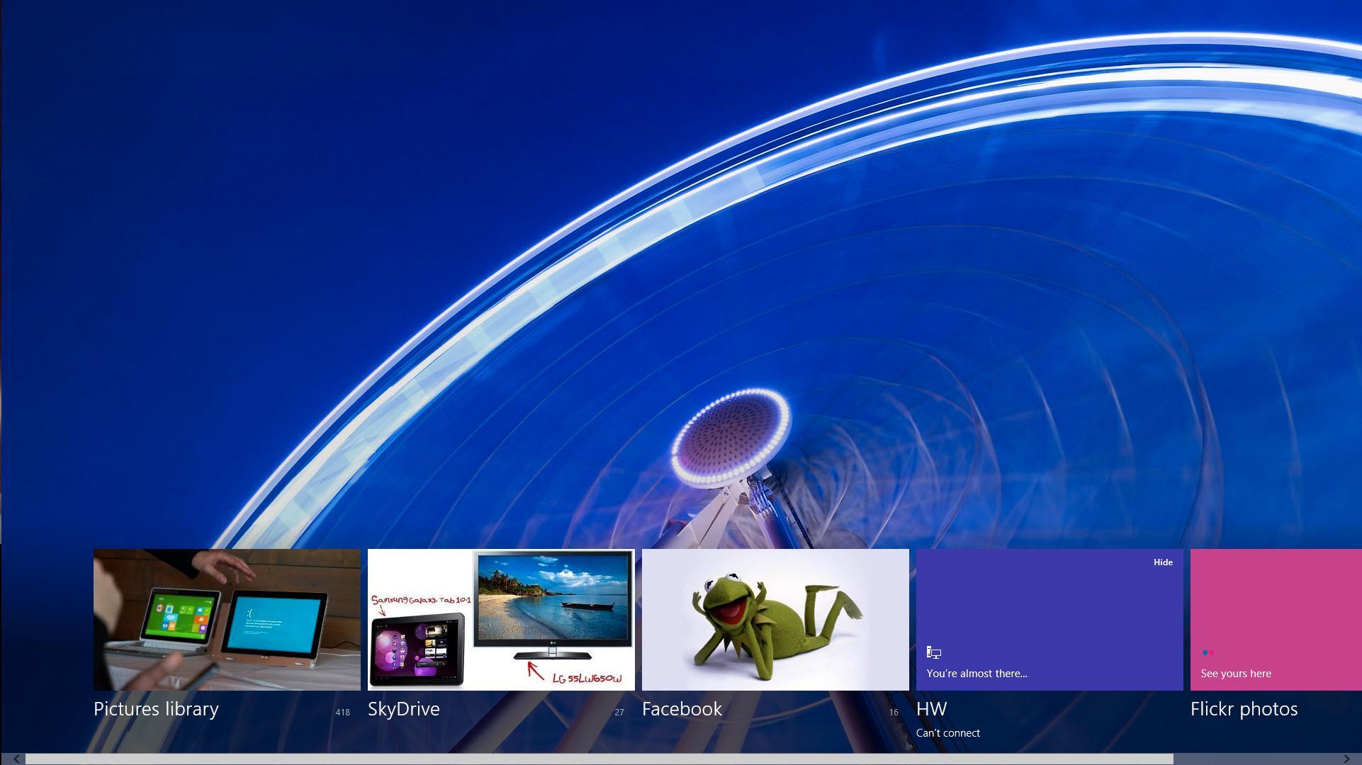 I bildeapplikasjonen dukker alle bildene dine opp fra alle tjenester du bruker.Foto: Hardware.no