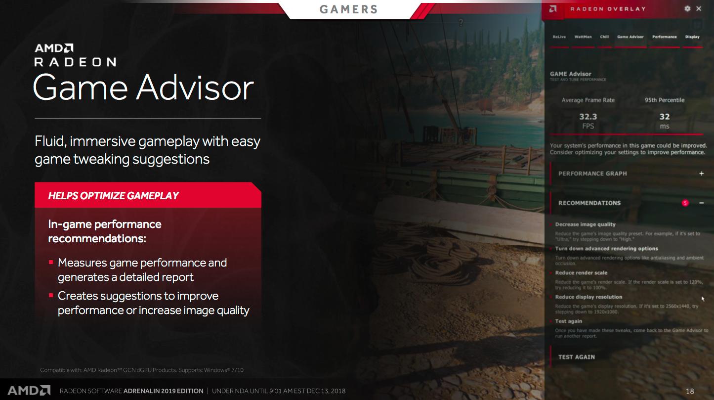 Game Advisor analyserer bildeflyten i spillene dine for å gi deg råd om hvilke innstillinger du eventuelt bør endre på.
