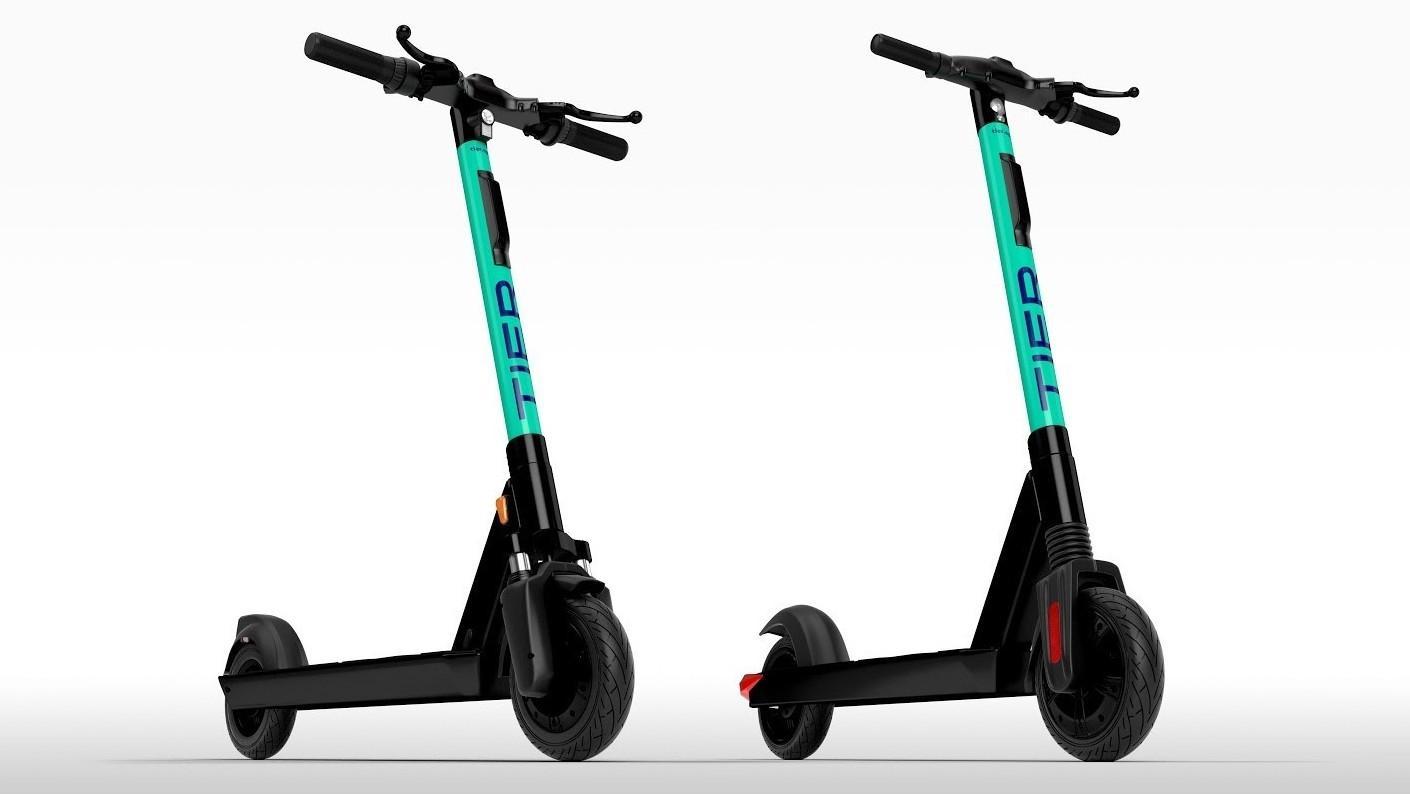 Den nye sparkesykkelen kommer i litt forskjellige utgaver hva angår lys, reflekser, bremser og demping. Varianten til høyre blir å finne i Oslo, bare med hvite reflekser foran.