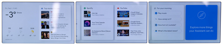Dette er de forskjellige skjermene du kan få på hjemskjermen.