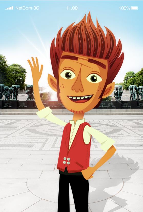Dette er vaktmester Ola Gustavsen. Han viser vei gjennom parken.