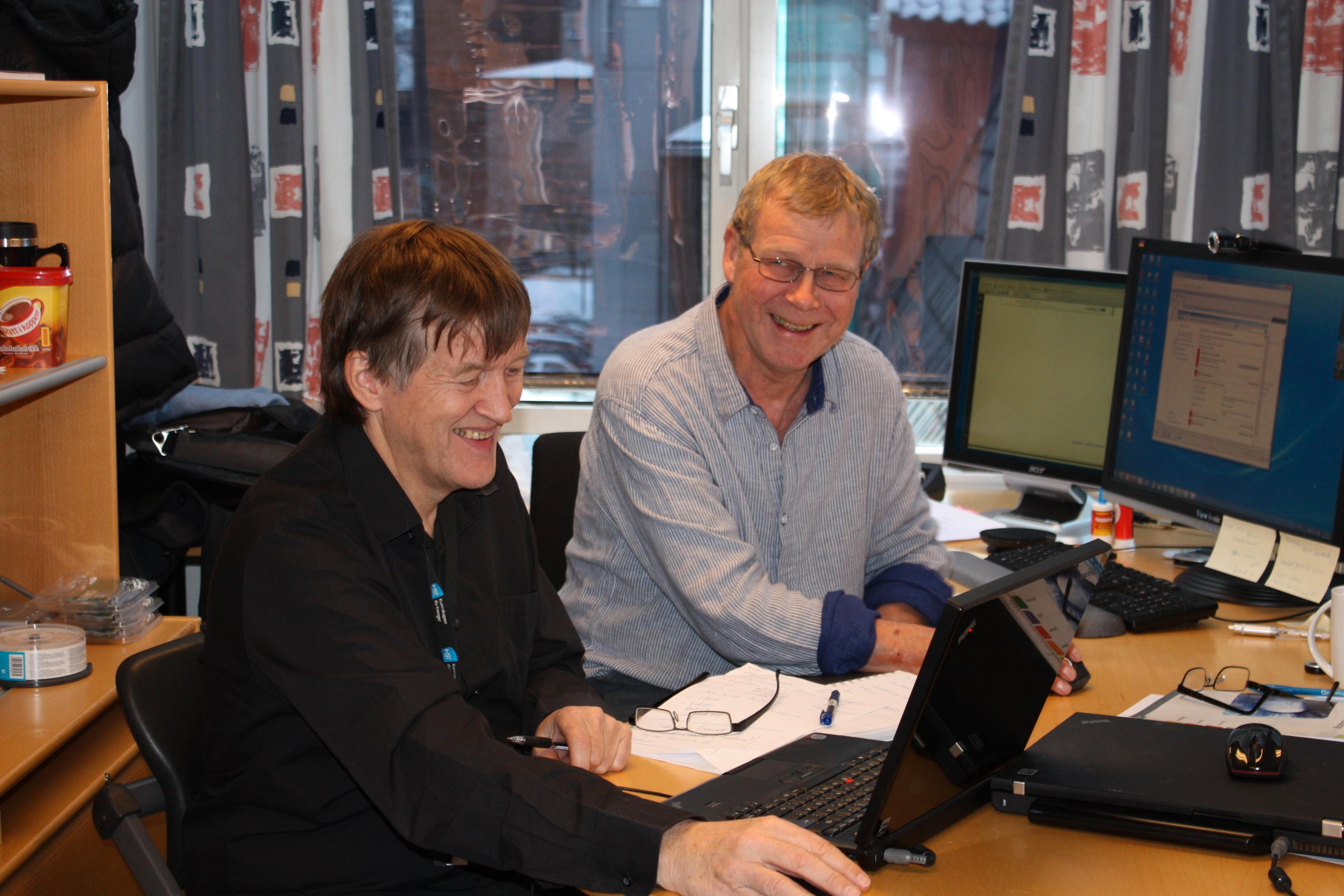 Jostein Lund (tv)og Stein Meisingseth er høgskolelektorer ved driftsstudiet.Foto: Therese Mjøen/HiST