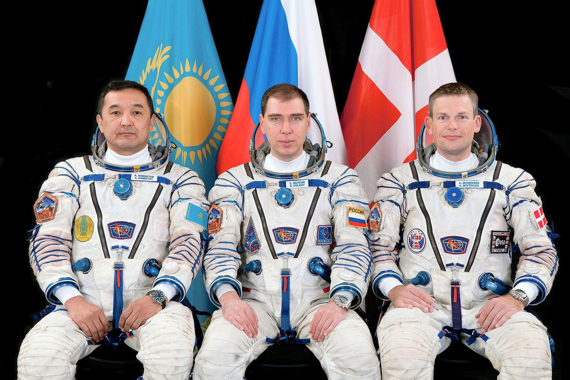 Aimbetov, Volkov og Mogensen. Foto: NASA