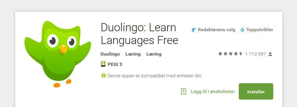 Last ned Duolingo i Google Play eller i Apple App Store. Foto: Google Play