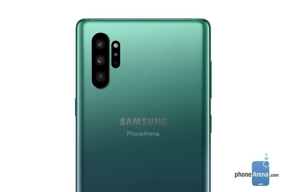 Slik så Phonearena for seg at Galaxy Note 10 ville se ut tidligere i år.