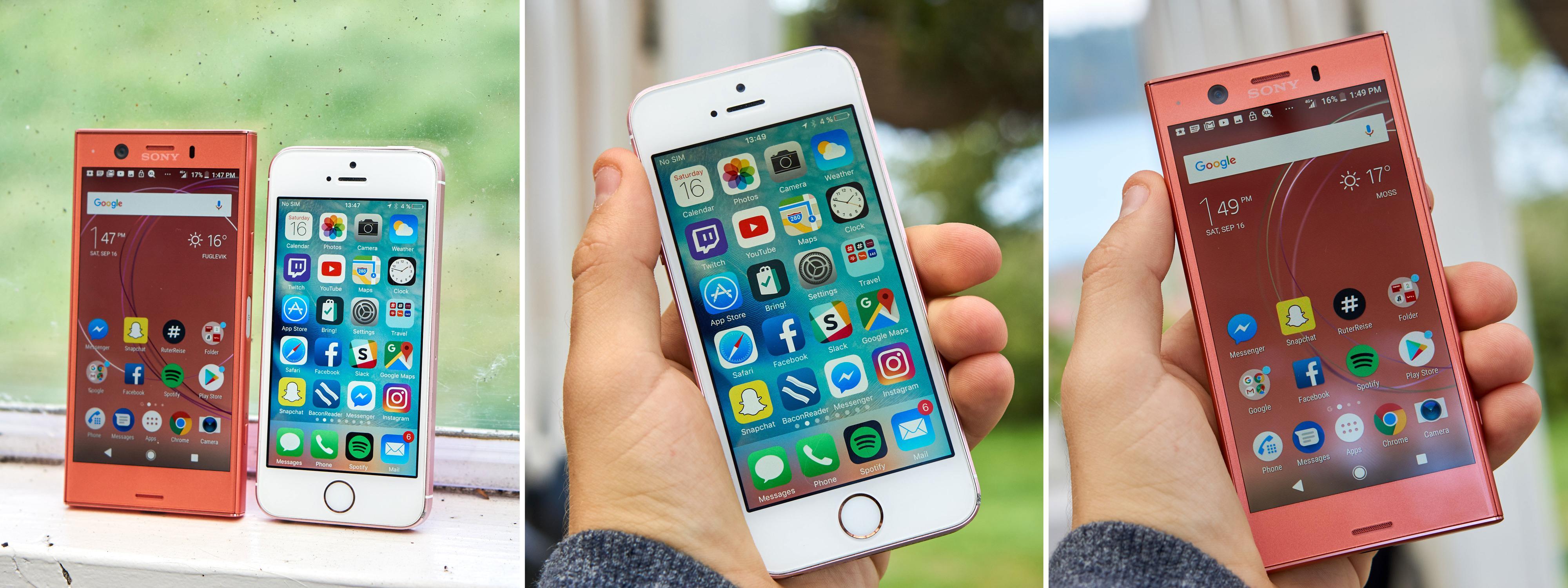 Størrelsesmessig er det kun iPhone SE som kan tukte Xperia-en.