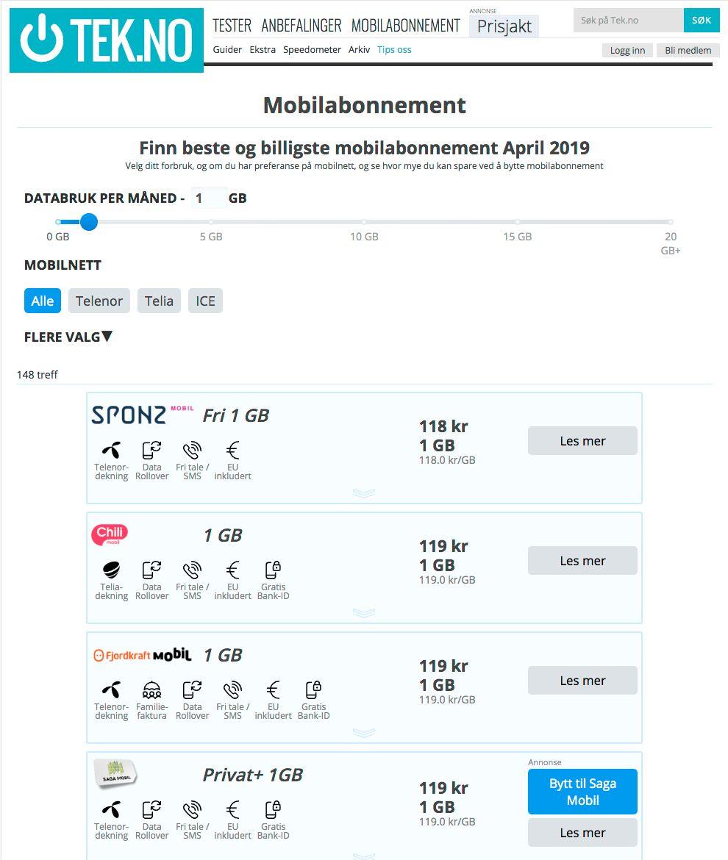I mobilkalkulatoren vår kan du legge inn hvilke kriterier som er viktige for deg, og så får du opp en liste rangert etter pris.