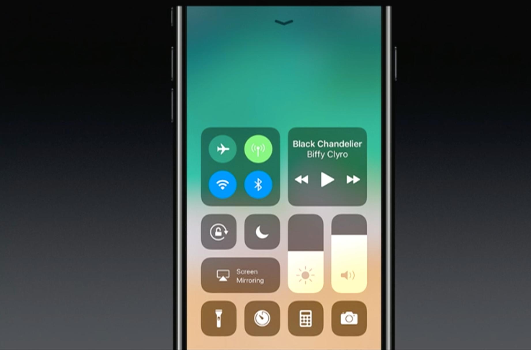 Nytt kontrollsenter! Bilde: Skjermdump/Apple