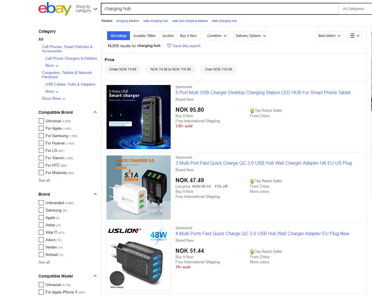 Du kan kjøpe en myriade av ulike ladehuber fra både internasjonale og norske nettsider. Her fra Ebay.