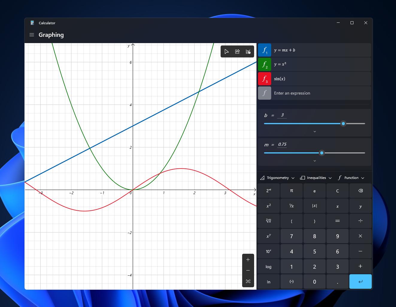 Nå kan kalkulator lage grafer.
