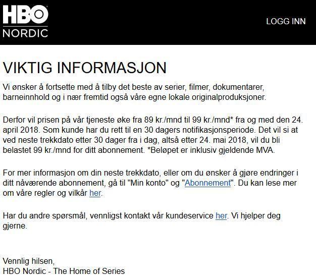 Slik varsler HBO Nordic om at prisen er i ferd med å øke.
