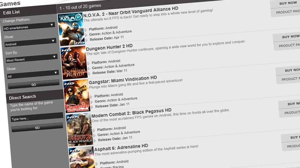Foreløpig er det Gamelofts HD-spill som har funnet veien inn i Game Hub. Her et skjermskudd fra Gamelofts nettsider.