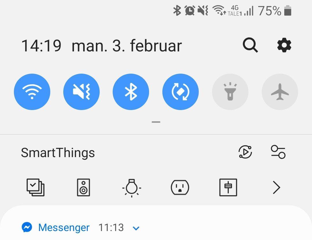 På visse Samsung-mobiler får vi et eget «SmartThings-panel» som gjør det hele litt enklere.