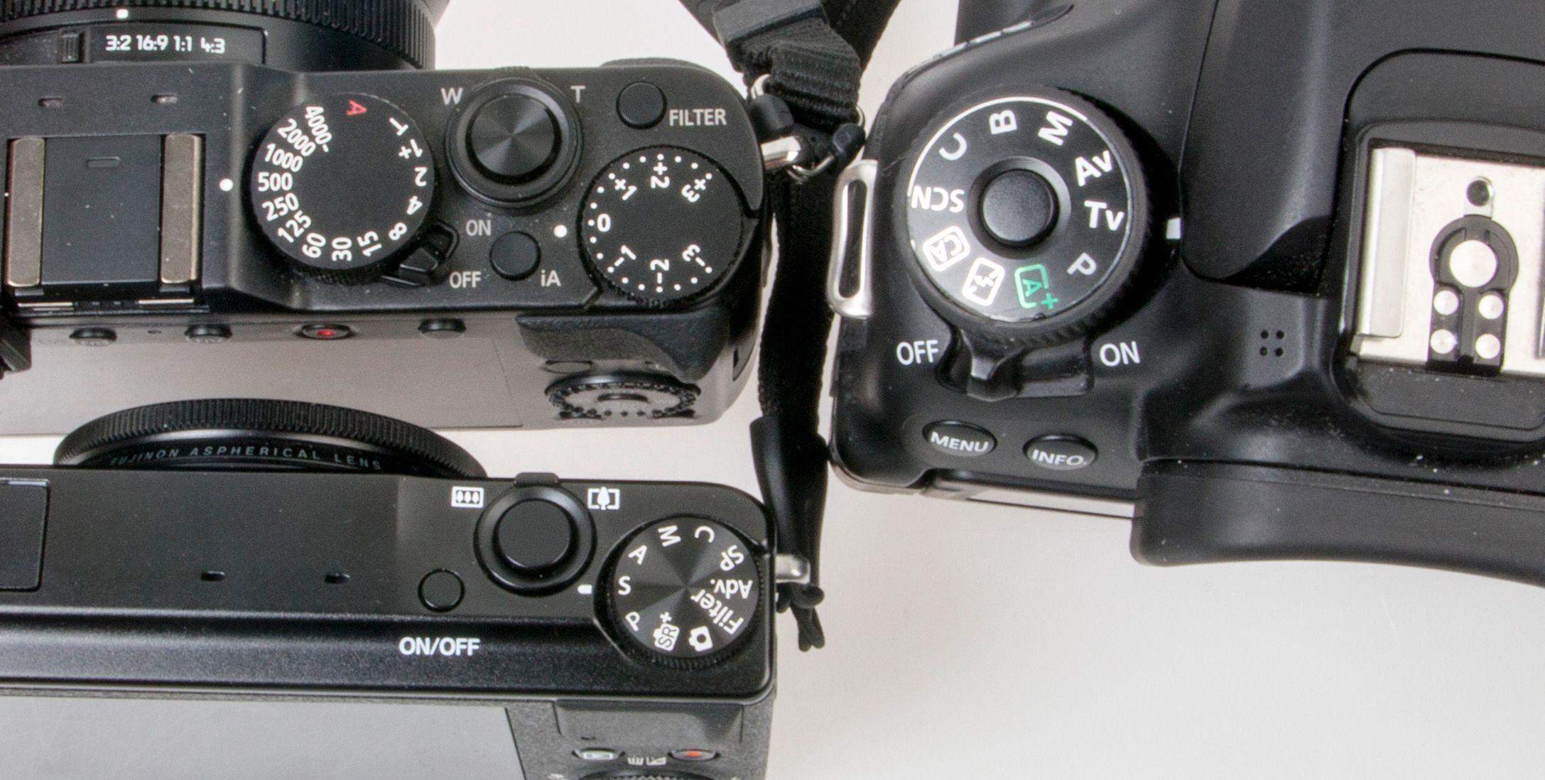 Se om kameraet har et modushjul der du kan velge mellom «S» («Tv» på Canon), «A» («Av» på Canon) og «M», eller dedikerte hjul for hver funksjon slik som for eksempel Panasonic LX100 (over til venstre). Foto: Kristoffer Møllevik