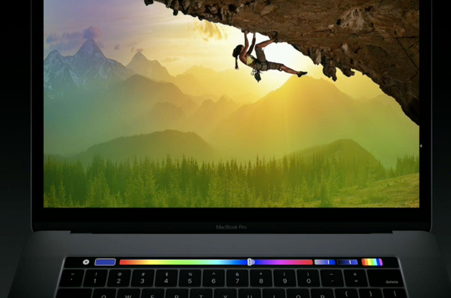 Touch Bar kan også brukes for å endre farge på penselen.