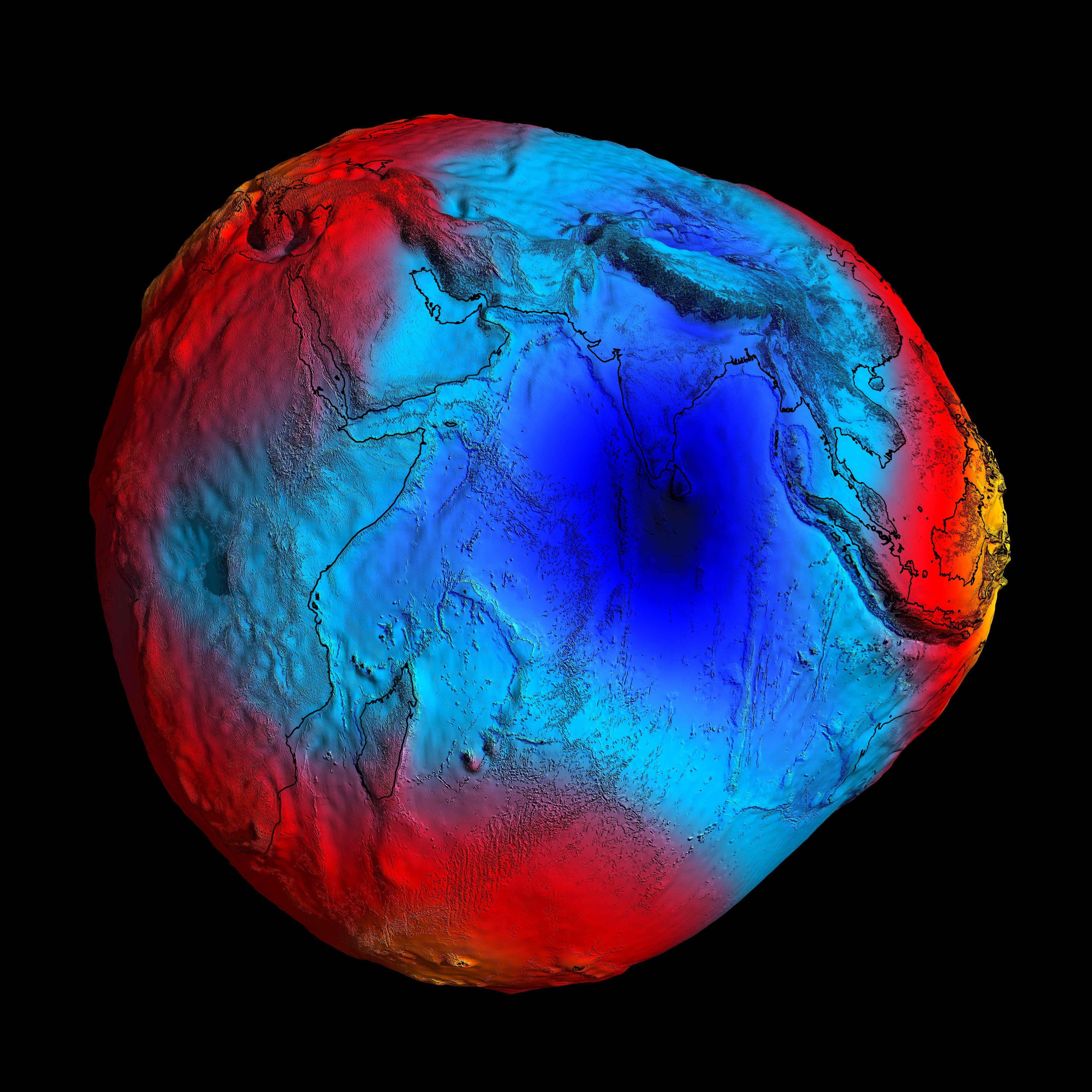 Dette er geoiden sett via satellitten GOCE i 2011. Her er det altså tegnet et omriss rundt jorda der tyngdekraften er lik som ved gjennomsnittlig havstand.