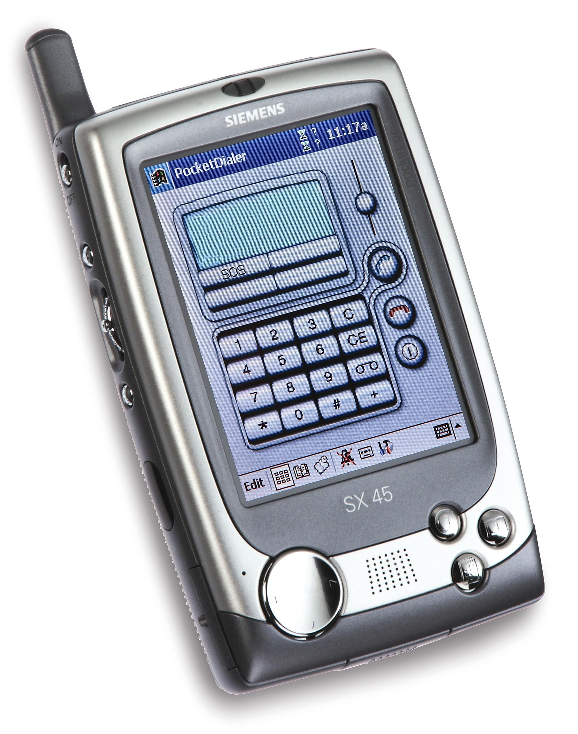 Siemens SX45 er en PDA du kan ringe med. Den kjørte Windows CE, og var nok ikke riktig like frisk i frasparket som dagens smartmobiler. Men den kom med apper og touch-skjerm lenge før noen hadde hørt om iPhone.
