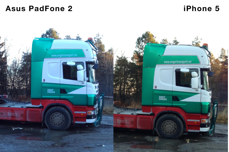 Sammenligning av PadFone 2 og iPhone 5.