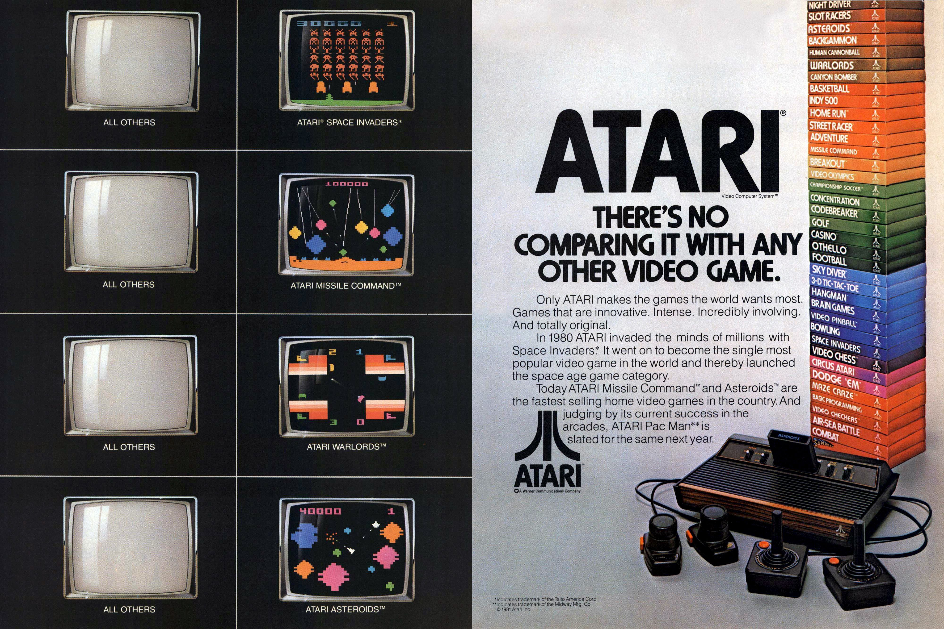 Slik så en reklame for Atari ut i 1981. Trykk for større bilde.