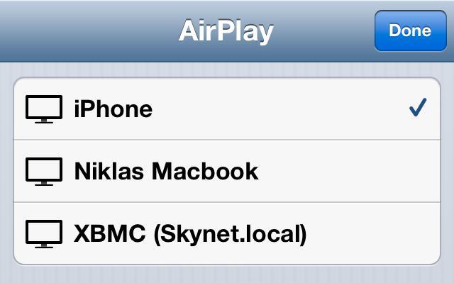 XBMC dukker opp i Airplay-listen så fort du har aktivert det i innstillingene. .