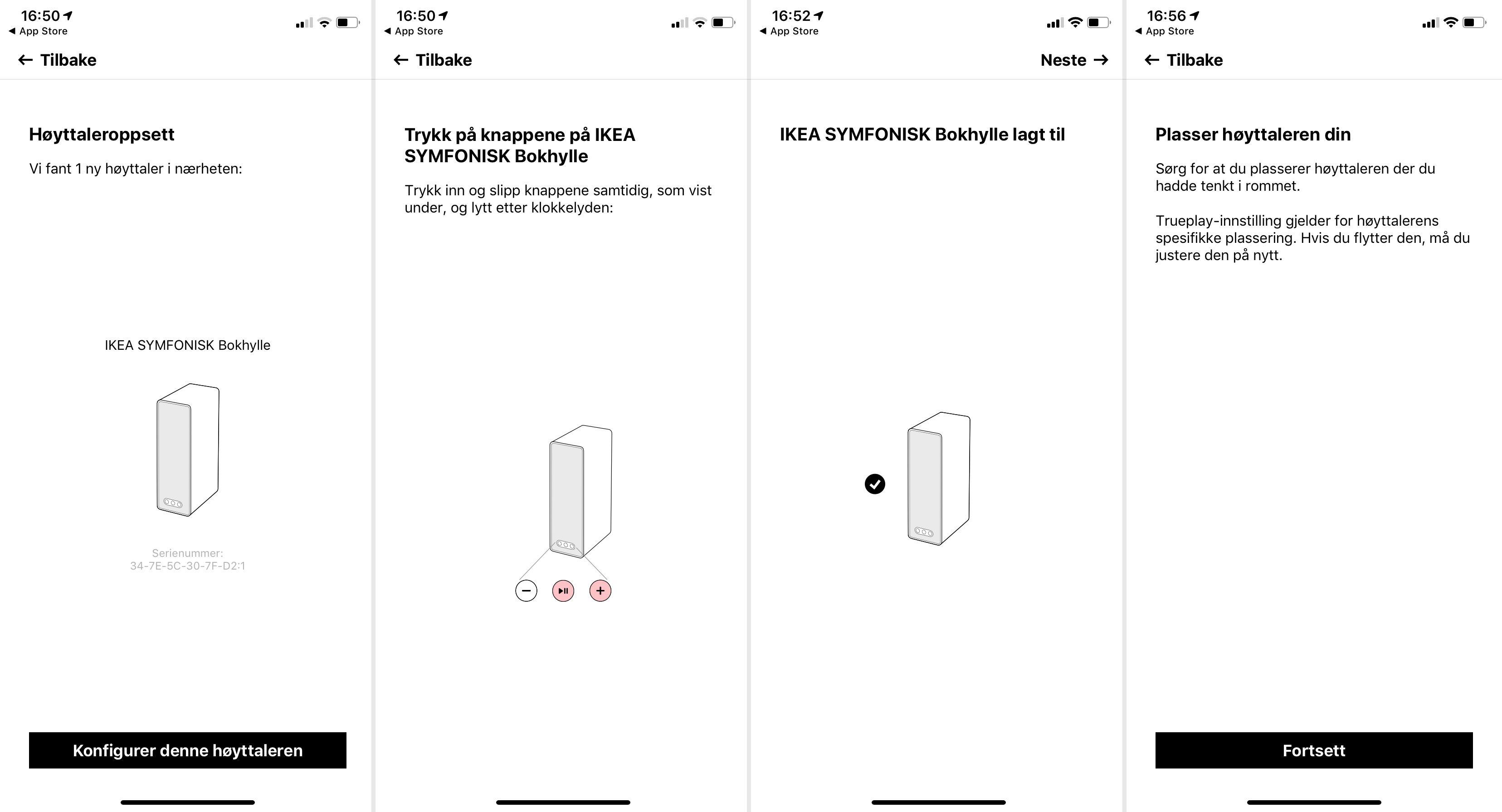 Sonos-appen brukes til å sette opp høyttalerne. Det går unna på et par minutter. Har du en iOS-enhet får du også mulighet til å gjennomføre TruePlay-kalibreringen.