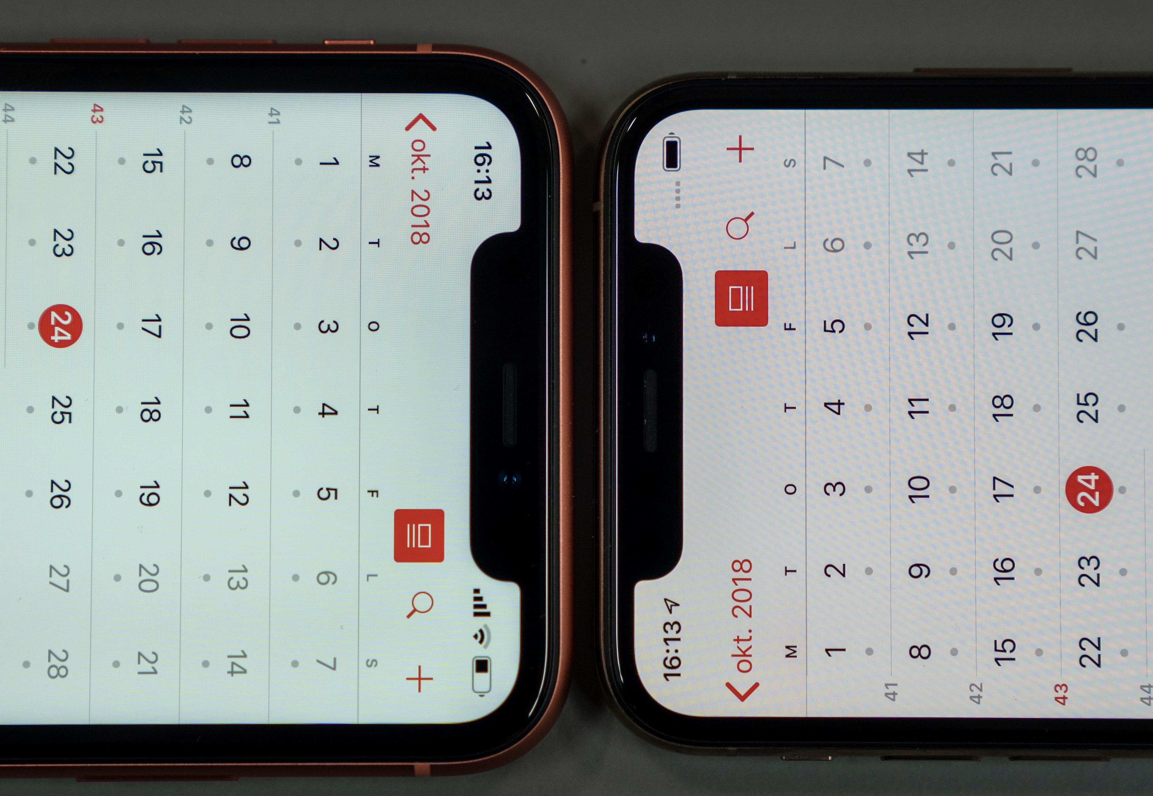 Det er samme sensorleppe på alle de nye iPhonene i år, og ansiktopplåsningen fungerer lynraskt.
