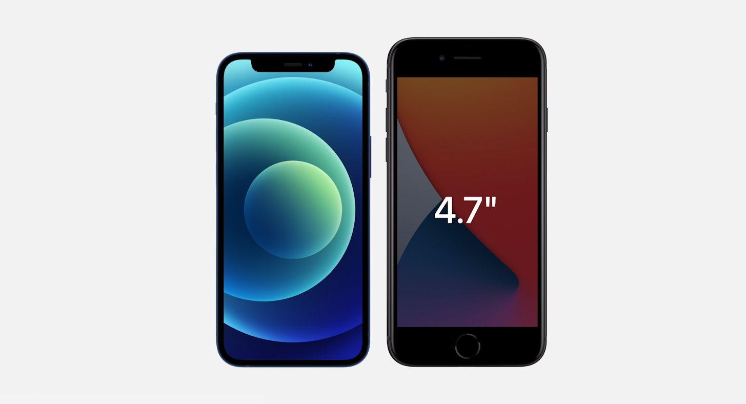 iPhone 12 mini får 5,4-tommers skjerm, men er likevel mindre enn Apples gamle 4,7-tommere, som iPhone 7 og 8.