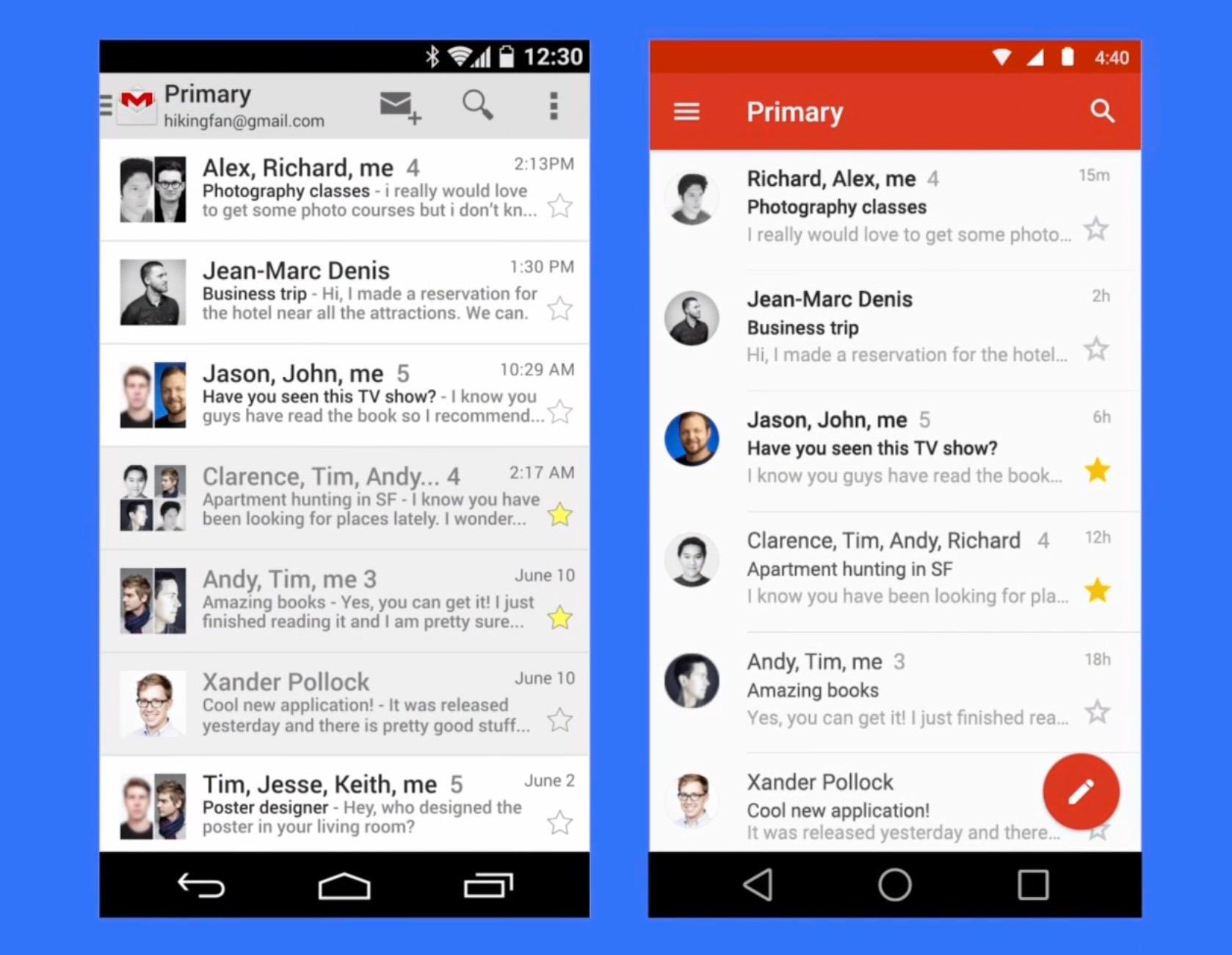 Slik vil GMail-appen se ut med den nye designen.Foto: Skjermdump/Google