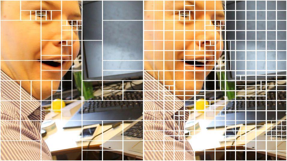 H.265 komprimerer innholdet bedre enn H.264. Her illustrert med H.264 til venstre og H.265 til høyre.Foto: Varg Aamo
