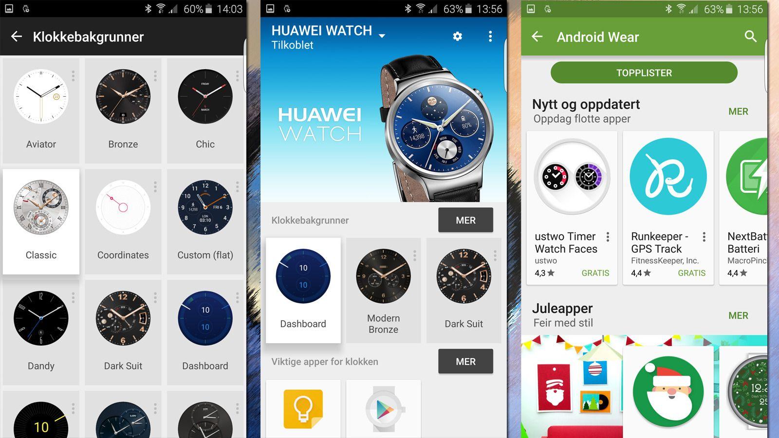 Mange av innstillingene gjør du enklest fra Android Wear-appen på telefonen. Her bestemmer du også hvilke apper du vil ha. Musikk overfører du fra Google Musikk. . Foto: Espen Irwing Swang, Tek.no
