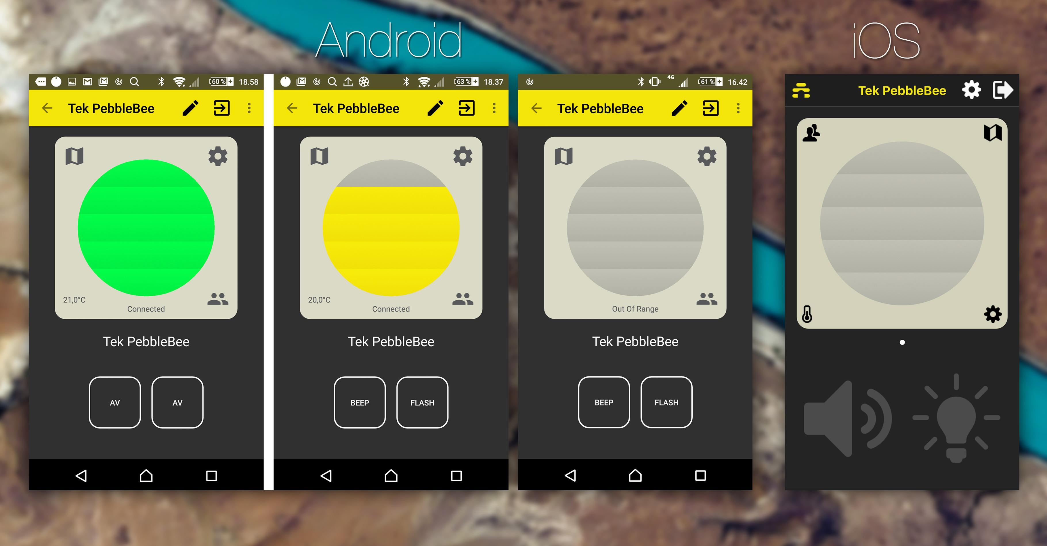 Pebblebee Hives radar skifter farge ettersom brikken er langt unna eller nærme telefonen.