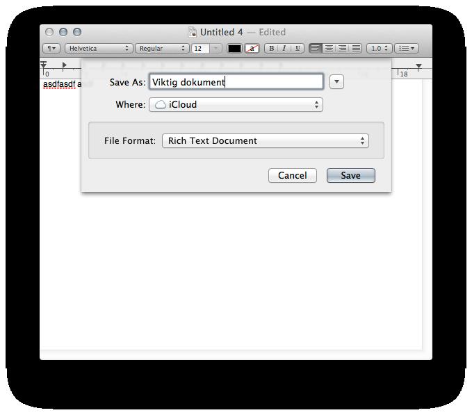iCloud dukker opp som en tilsynelatende vanlig mappe. Forskjellen er at du har tilgang til den fra alle maskinene dine.