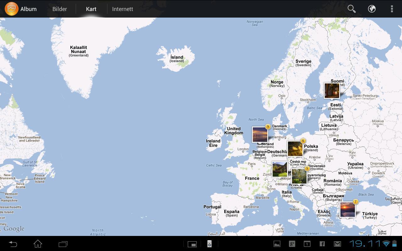 Bildene kan vises på et kart, forutsatt at du har skrudd på geotagging i kameraappen.