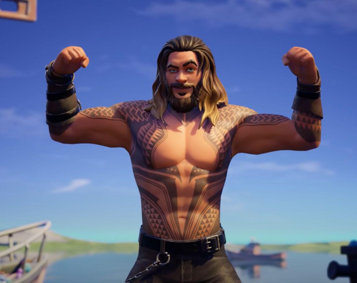 Aquaman i Fortnite-drakt.