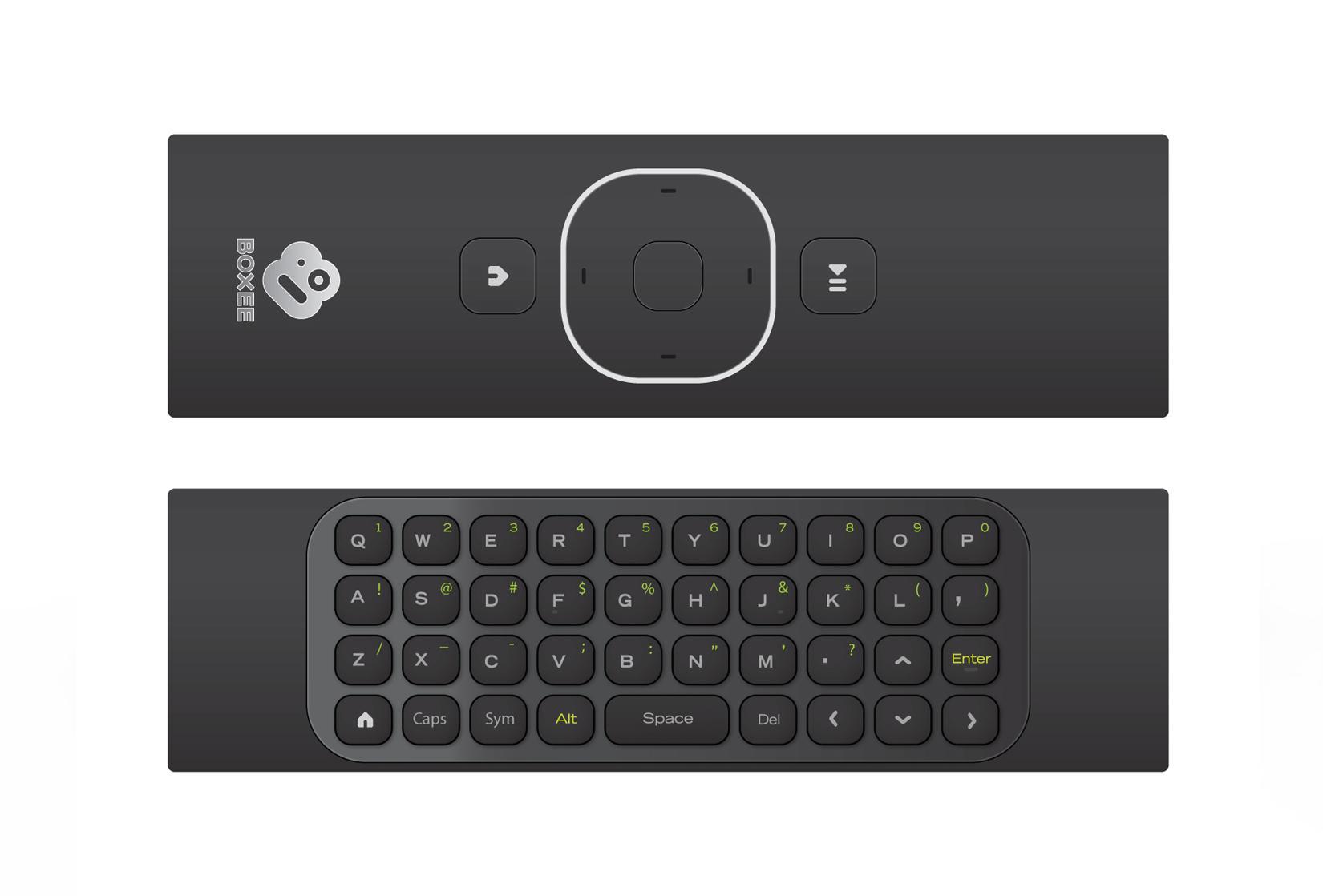 Fjerkontrollen er tosidig. Med QWERTY-tastatur på ene siden.