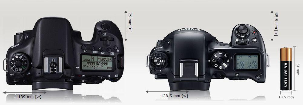 Canon EOS 70D og Samsung NX1 side ved side.Foto: camerasize.com