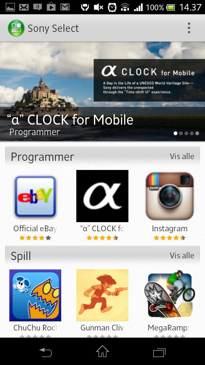 Sony har en egen side for apper de anbefaler.Foto: Espen Irwing Swang, Amobil.no