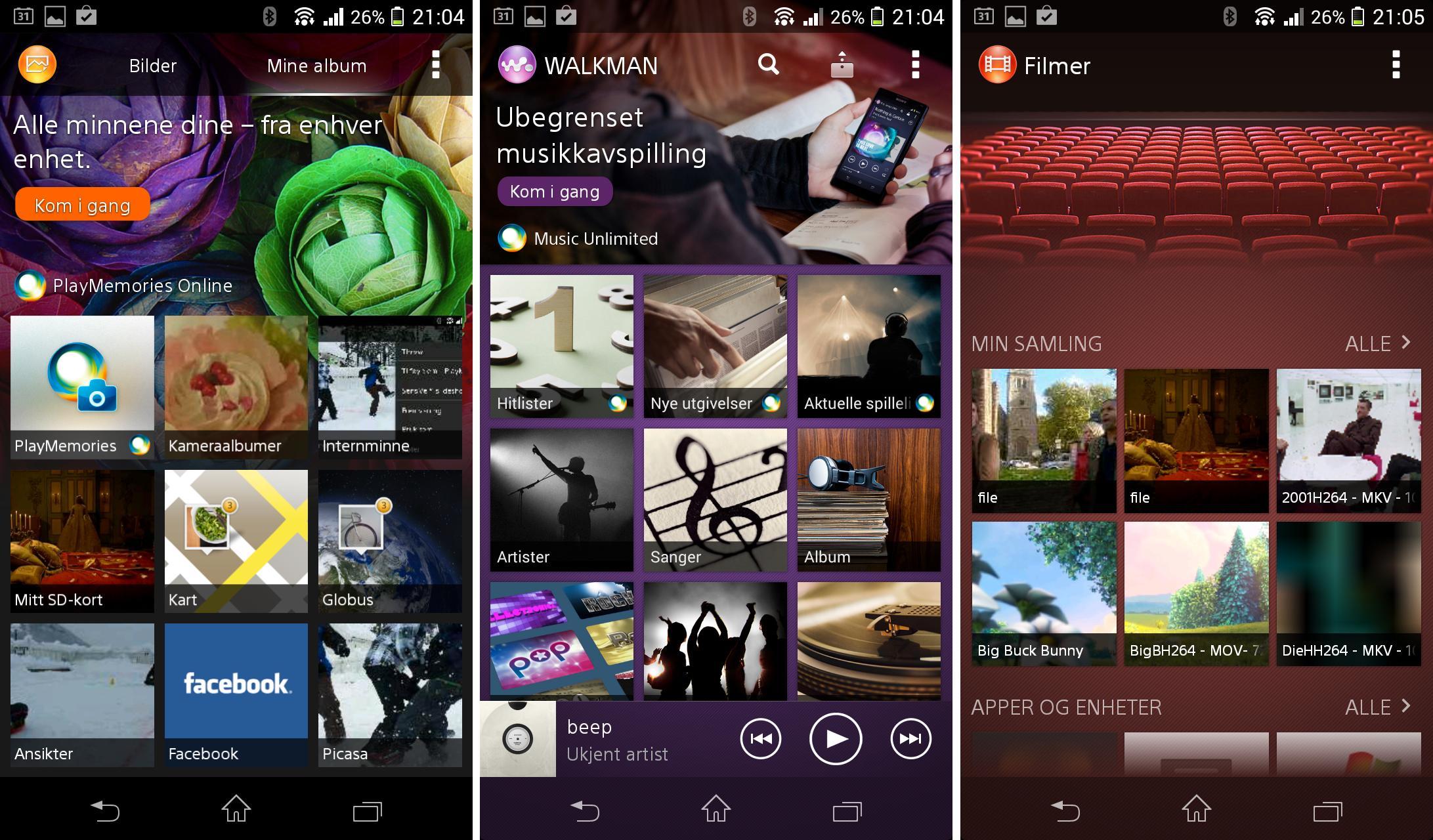 Sonys egne apper for bildealbum, musikk og film er veldig gode.