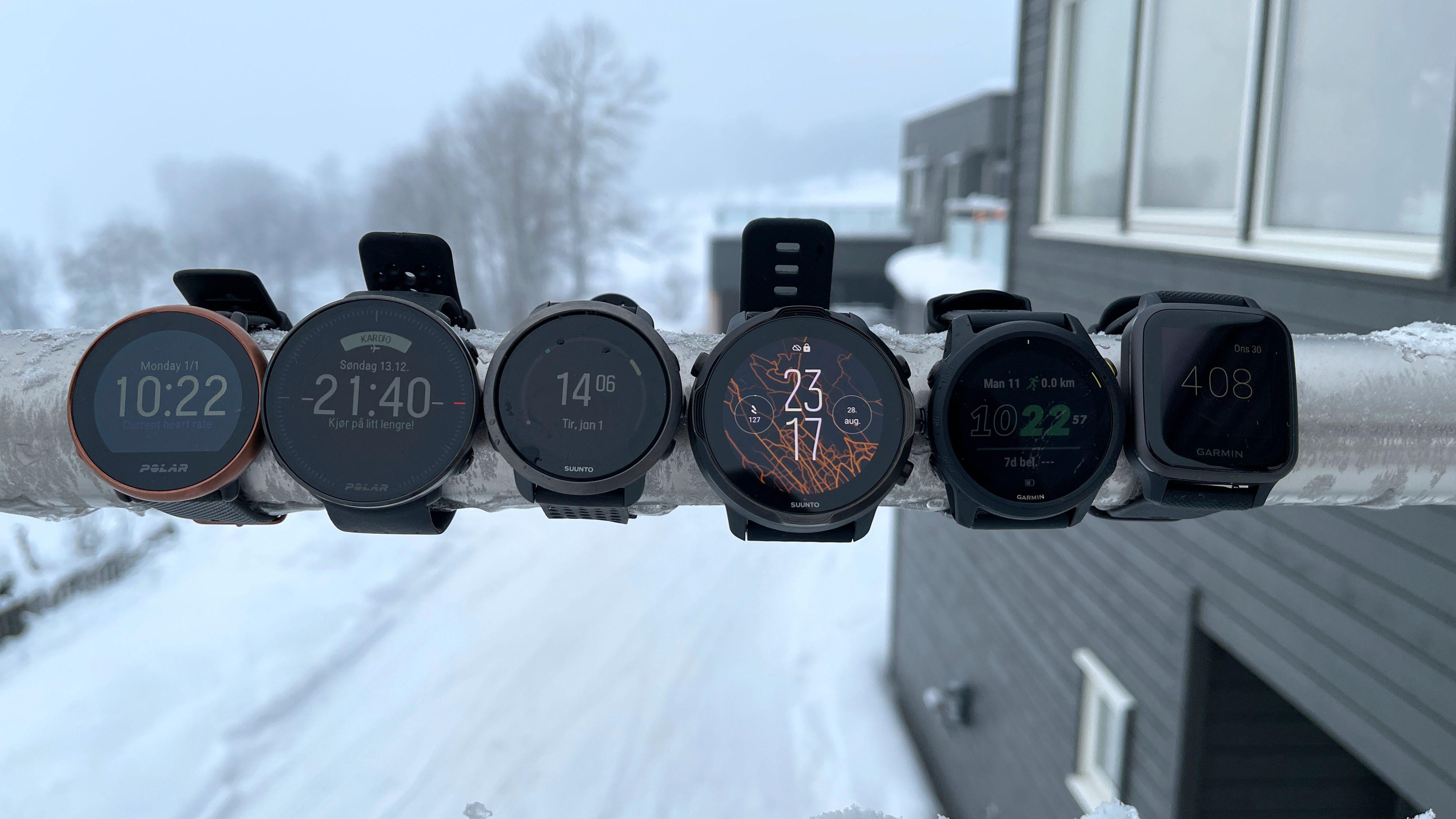 STOR SAMLETEST: Vi har testet seks ulike varianter av trenings-og smartklokker. Alle disse seks er gode klokker, og heller ikke så ille på pris.