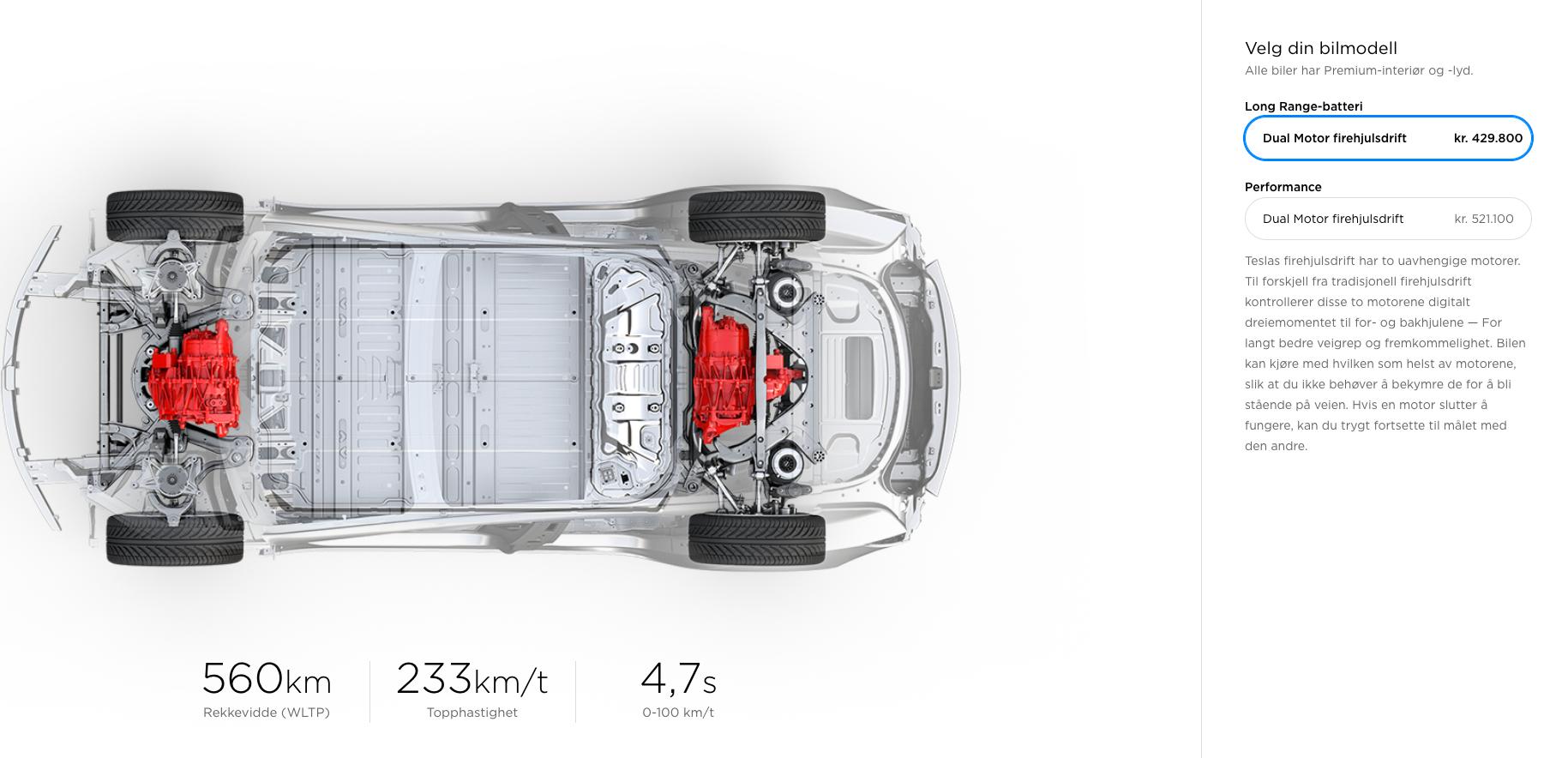 Den nye rekkevidden er allerede å finne på de norske Tesla-nettsidene. Økningen er på 16 kilometer.