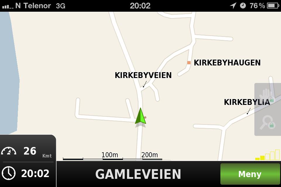 Navigasjonsvinduet i Navv står ikke mye tilbake for TomToms. Appen er imidlertid langt billigere.