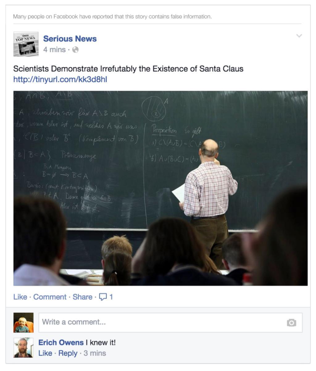 Er innholdet bare tull, så vil Facebook advare deg. (Noen ganger er det litt vanskeligere å avsløre enn denne...).