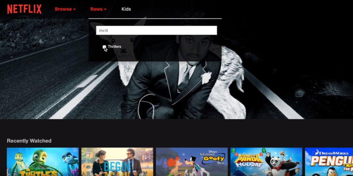 Netflix viste også frem muligheten til å legge til nye rader i grensesnittet, for eksempel filmkategorier, samt fritt endre på eksisterende rader.
