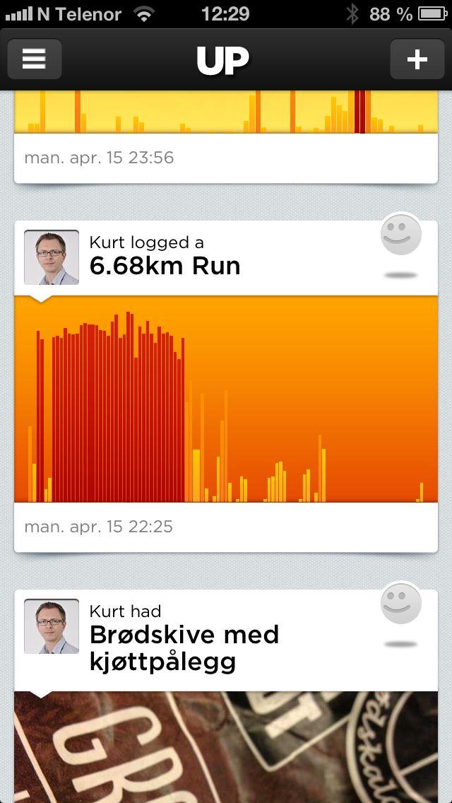 Nyhetsfeeden i Jawbone Up-appen.