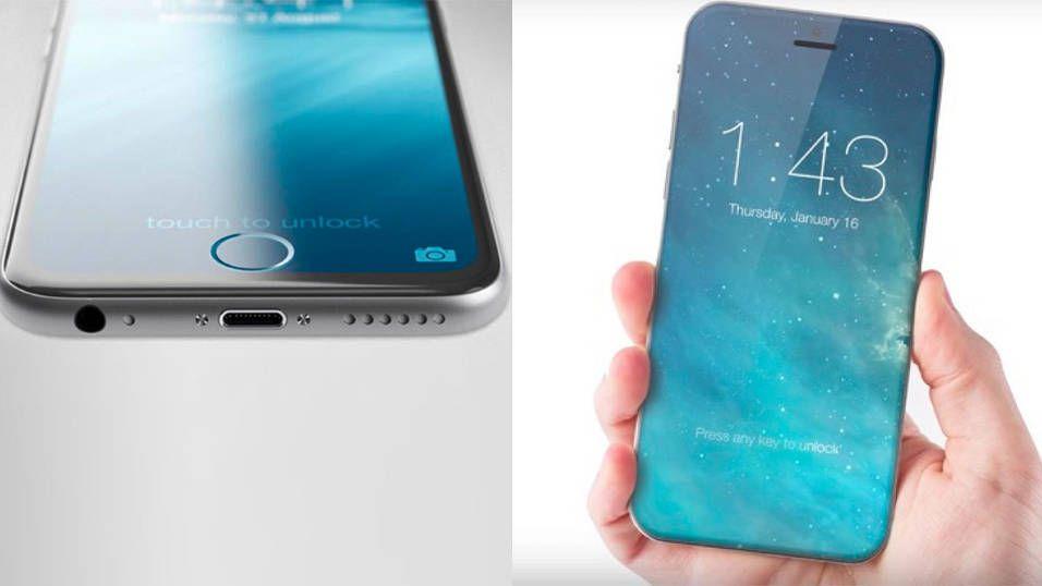 Den nye iPhone-modellen kan få kant-til-kant-skjerm og ingen hjemknapp. Avbildet er en konsepttegning.