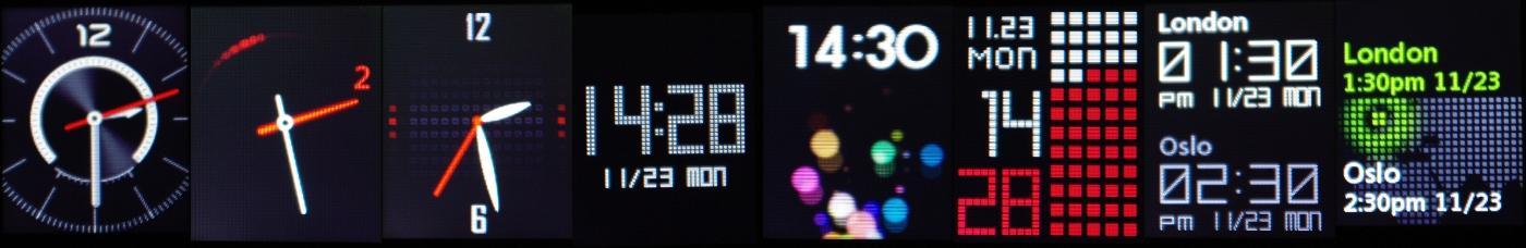Du har et vell av klokkevisninger å velge i. (Klikk for større bilde)