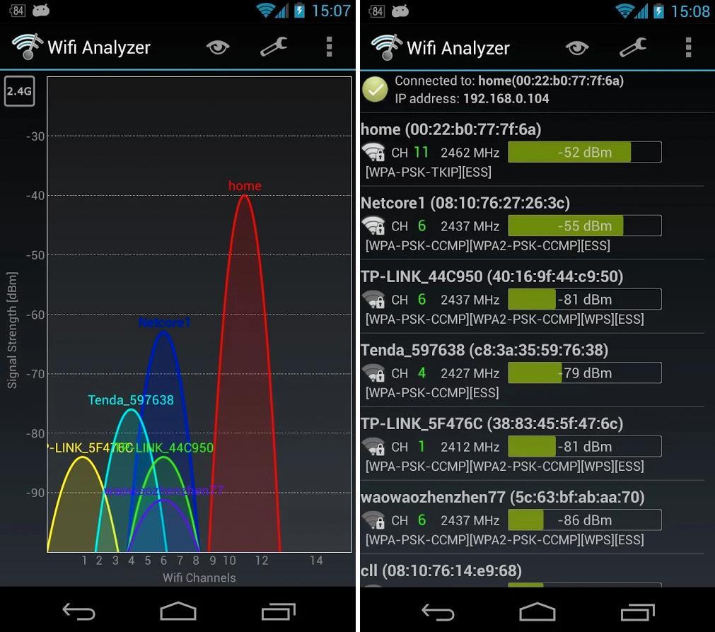WiFi Analyzer for Android gjør det enkelt å sjekke hvilke kanaler det er minst trafikk på.
