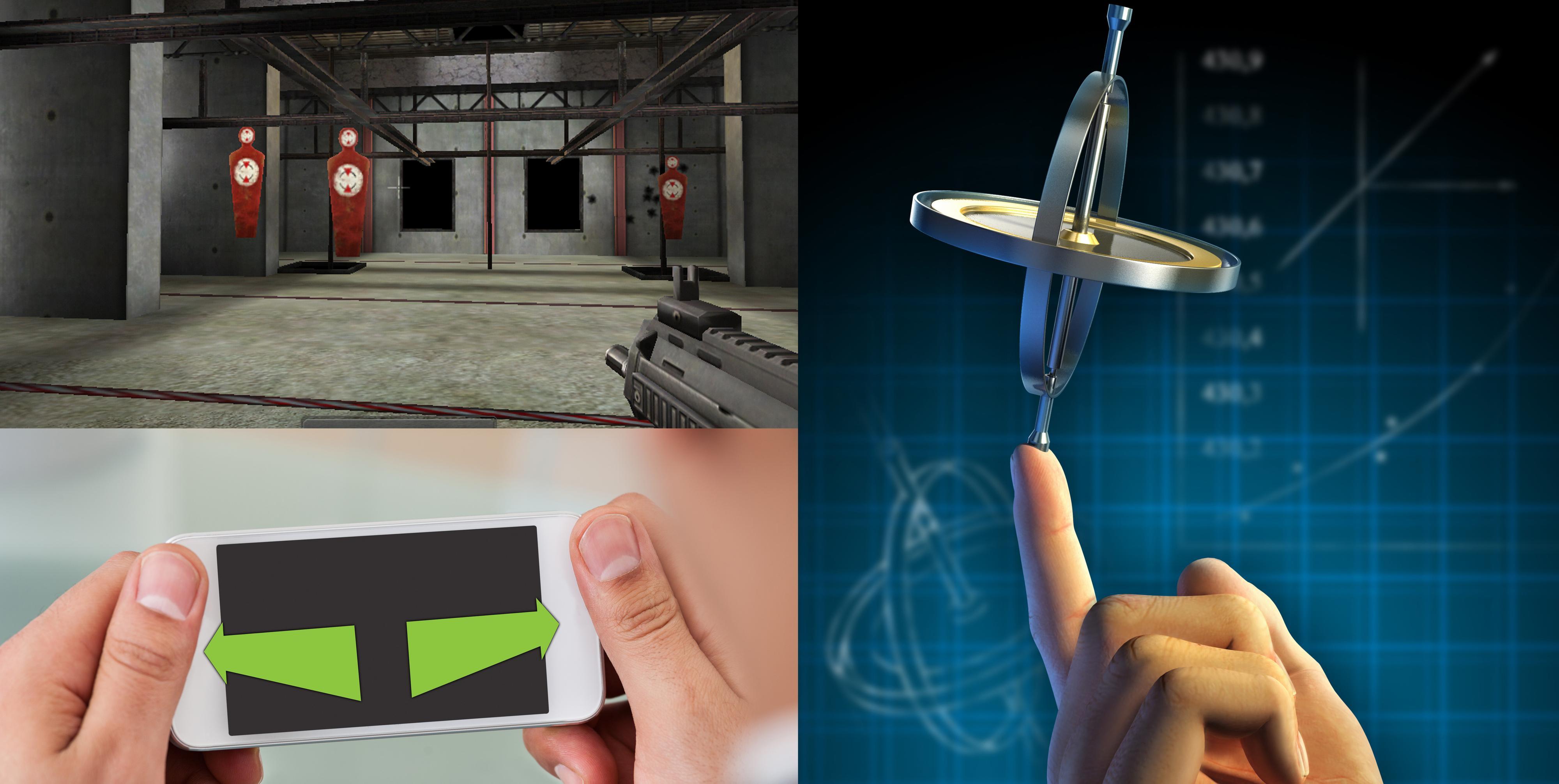 Skytespillet øverst til venstre var ett av de første spillene som baserte seg på mobile gyroskop. Et gyroskop er langt mer presist enn de eldre akselerometerne. I tillegg kan det måle horisontale vridninger av enheten, slik at du enkelt kan sikte eller se deg omkring i spill som ellers ville krevd styring med knapper.Foto: Montasje/Shutterstock